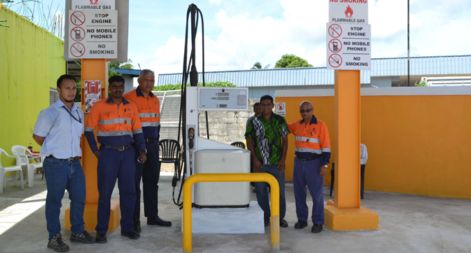 From Left:Fiji Gas North branch team leader Jefferson Gock, Fiji Gas Health, Safety and Environment Manager Niteshwar Sami, Fiji Gas National Operations Manager Max Olsson, Basrath Service Station Managing Director Saifud Din and Fiji Gas team leader deliveries Jagish Prasad during the opening of the Vanua Levu's first auto gas station on Nasekula Road in Labasa yesterday. Photo:SHRATIKA NAIDU
